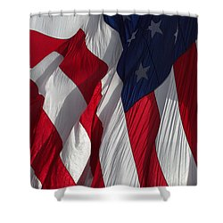 Battle Flag Flies Aboard Uss Cape St. George Shower Curtain