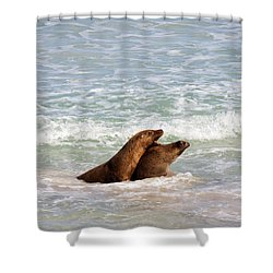 Battle For The Beach Shower Curtain by Mike  Dawson