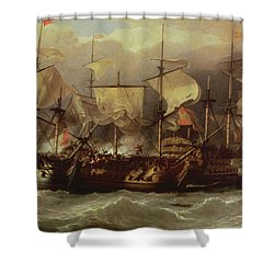 Battle Of Cape St Vincent Shower Curtain by Sir William Allan