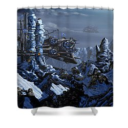 Shower Curtain featuring the digital art Battle Of Eagle's Peak by Curtiss Shaffer