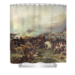 Battle Of Montereau Shower Curtain by Jean Charles Langlois
