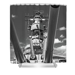 Shower Curtain featuring the photograph Battleship Missouri by Colleen Coccia