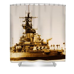 Shower Curtain featuring the photograph Battleship Uss Iowa Vintage by Joseph Hollingsworth