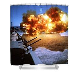 Battleship Uss Missouri Fires One Shower Curtain by Stocktrek Images