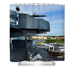 Battleship View Of Wilmington Nc Shower Curtain by Denis Lemay