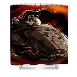 Shower Curtain featuring the digital art Battlestar Galactica Emerges From The Stargate by Mario Carini