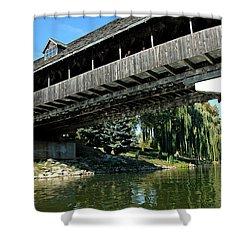 Shower Curtain featuring the photograph Bavarian Covered Bridge by LeeAnn McLaneGoetz McLaneGoetzStudioLLCcom