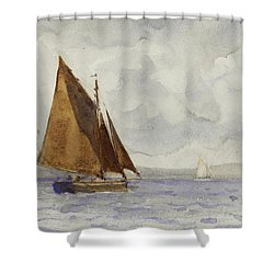 Shower Curtain featuring the painting Bawley Running Up The Coast by Henry Scott Tuke