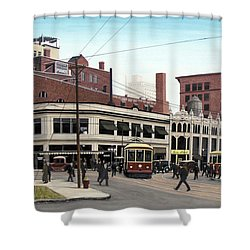 Shower Curtain featuring the painting Bay And Queen Streets C1940 by Kenneth M Kirsch