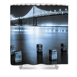 Bay Bridge 1 In Blue Shower Curtain