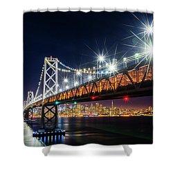 Bay Bridge And San Francisco By Night 5 Shower Curtain