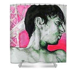 Shower Curtain featuring the painting Bay Bridge Anf Figure In Red by Rene Capone