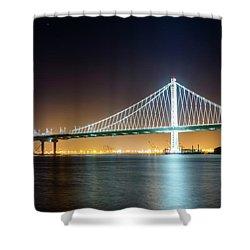 Bay Bridge East By Night 1 Shower Curtain