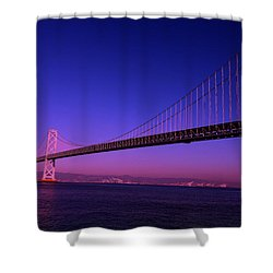 Shower Curtain featuring the photograph Bay Bridge Sunset by Linda Edgecomb