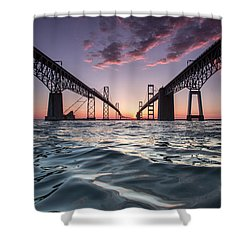 Bay Bridge Twilight Shower Curtain