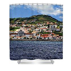 Bay Of Horta Shower Curtain by Anthony Dezenzio