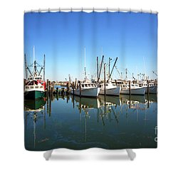 Bay Parking At Long Beach Island Shower Curtain by John Rizzuto