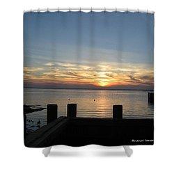 Bay Sunset Shower Curtain by Nance Larson