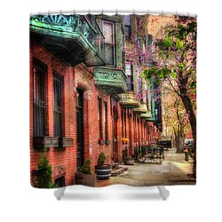 Bay Village Brownstones And Cherry Blossoms - Boston Shower Curtain by Joann Vitali