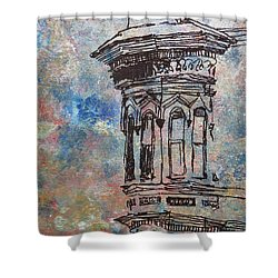 Shower Curtain featuring the mixed media Bay Window by John Fish