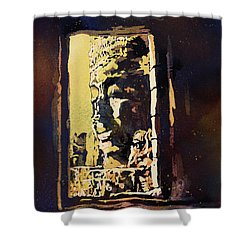 Shower Curtain featuring the painting Bayon IIi- Cambodian Ruins, Angkor Wat by Ryan Fox