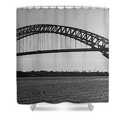 Bayonne Bridge Panorama Bw Shower Curtain
