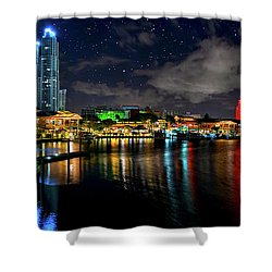 Bayside Miami Florida At Night Under The Stars Shower Curtain by Justin Kelefas
