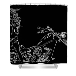Shower Curtain featuring the drawing Bb Four by Mayhem Mediums