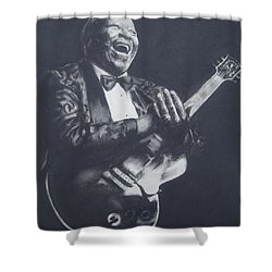 Bb King Shower Curtain by Cynthia Campbell