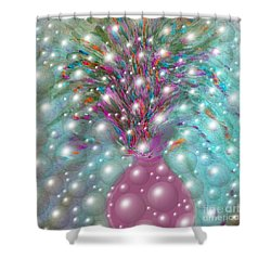 Bbubbling Vase Of Flowers Shower Curtain