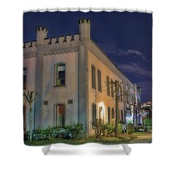 Shower Curtain featuring the mixed media B.c.penitentiary by Jim  Hatch