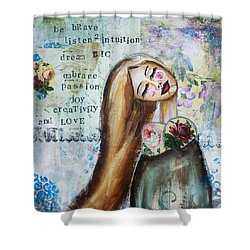 Be Brave Inspirational Mixed Media Folk Art Shower Curtain by Stanka Vukelic