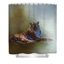 Be Calm In Your Heart - Tiger Art Shower Curtain by Jordan Blackstone