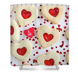 Shower Curtain featuring the photograph Be Mine Heart Cookies by Teri Virbickis