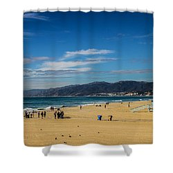 Beach And Mountains Shower Curtain by Robert Hebert