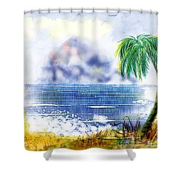 Beach And Palm Tree Of D.r.  Shower Curtain