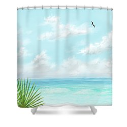 Shower Curtain featuring the digital art Beach And Palms by Darren Cannell