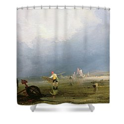 Beach At Shoreham Shower Curtain by Anthony Vandyke Copley Fielding