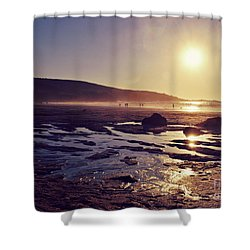 Shower Curtain featuring the photograph Beach At Sunset by Lyn Randle