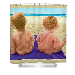 Shower Curtain featuring the painting Beach Babies by Susan DeLain
