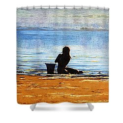 Beach Baby Blue Shower Curtain