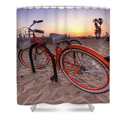 Beach Bike Shower Curtain by Yhun Suarez