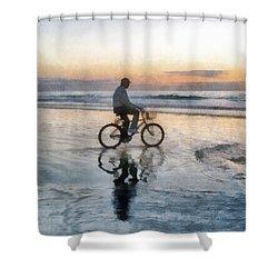 Beach Biker Shower Curtain by Francesa Miller