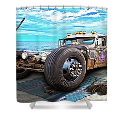 Beach Blanket Rat Rod Shower Curtain