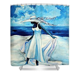 Shower Curtain featuring the painting Beach Blues by Diane Britton Dunham