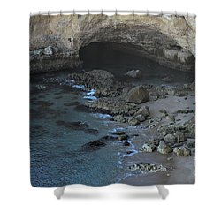 Beach Cave From The Cliffs In Malhada Do Baraco Shower Curtain