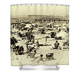 Beach Crowds Shower Curtain by John Rizzuto