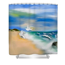 Beach Energy Shower Curtain by Frank Bright