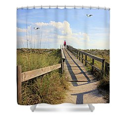 Beach Entrance Shower Curtain by Rosalie Scanlon