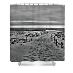 Beach Entry In Black And White Shower Curtain by Paul Ward